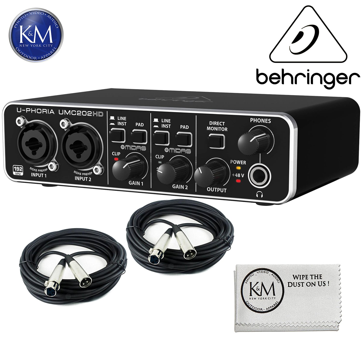 Behringer U-PHORIA UMC202HD - USB 2.0 Audio Interface w/2 x 20ft Structure XLR Cables and K&M Micro Fiber Cloth Bundle