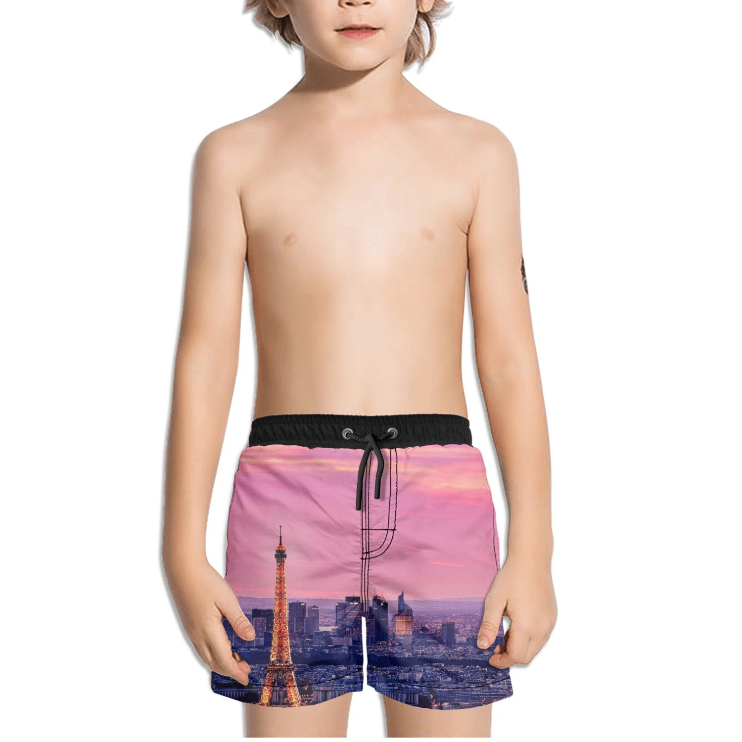Trum Namii Boys Quick Dry Swim Trunks Paris Eiffel Tower View Shorts