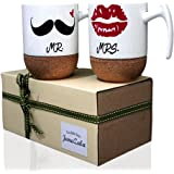 Janazala Mr and Mrs Ceramic Coffee Mugs Set of 2, Novelty His and Hers Coffee Mugs 9.5 Ounce, Cork Stand, For Couple, Anniversary For Couples, Housewarming, Wedding Engagement Mugs, Lips - Mustache