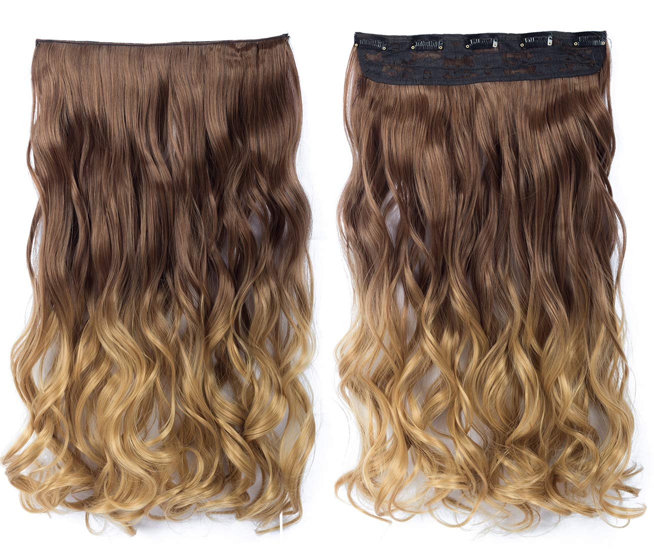 8t27 Beautyself Hair Extensions Ombre Clip In Curly One Piece On Short Hair 8t27 Amazon In Beauty