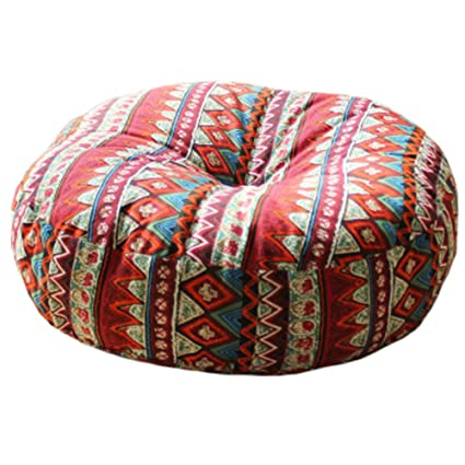 Amazon Com Kylin Express Bohemian Style Soft Round Seat Cushion Chair Pad Floor Cushion Pillow Red Home Kitchen