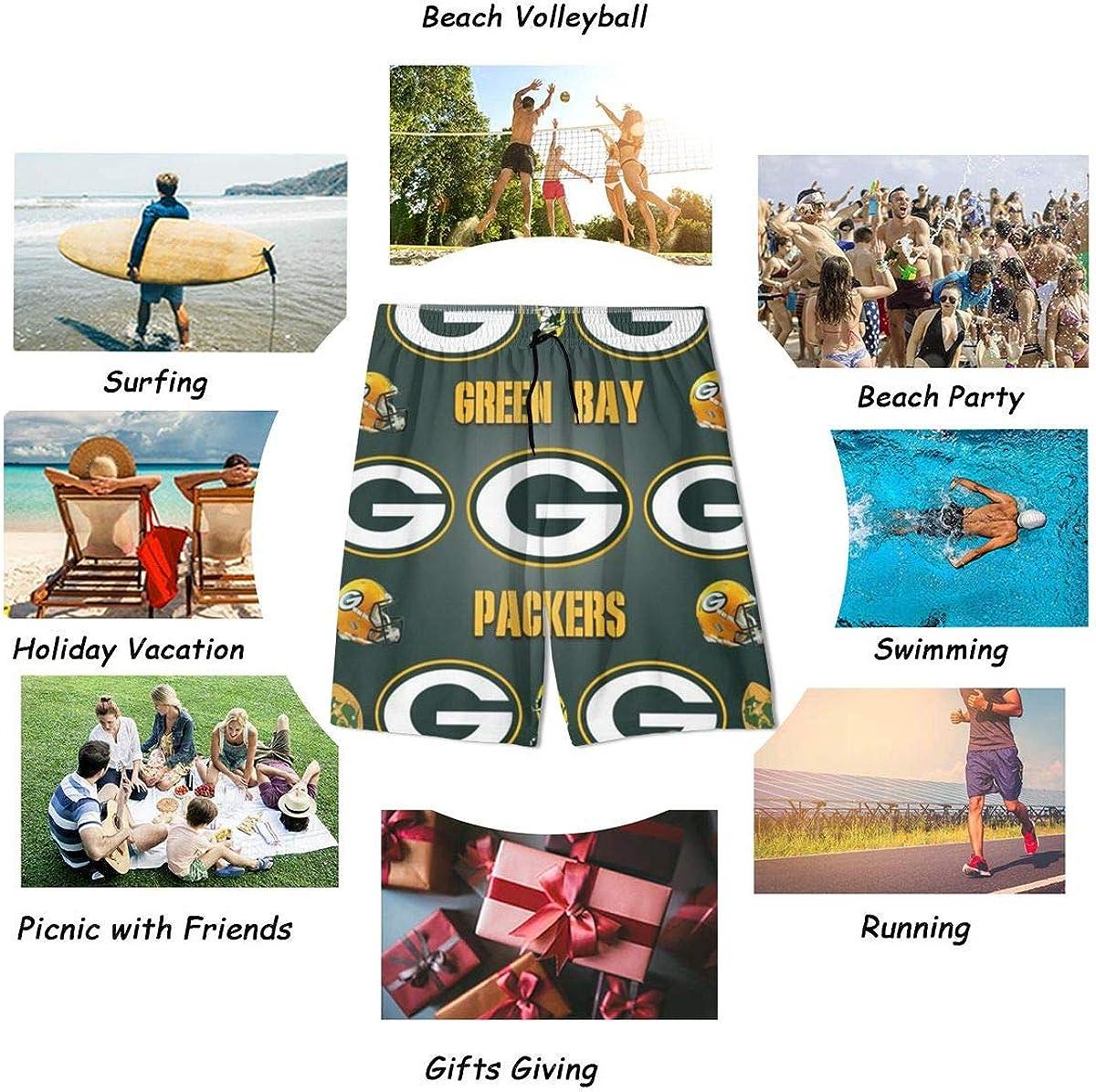 Youth Girls Boys Green Bay Packers 3D Swim Trunks Surf Beach Shorts Summer Boardshorts with Pocket Drawstring