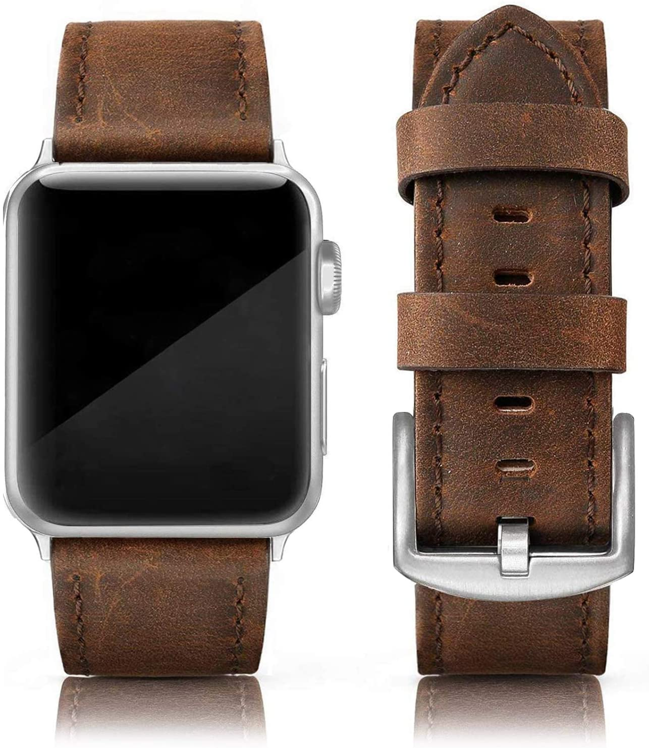 EDIMENS Leather Bands Compatible with Apple Watch 42mm 44mm Band Men Women, Vintage Genuine Leather Wristband Replacement Band Compatible for Apple Watch iwatch Series 6 5 4 3 2 1, SE Sports & Edition Retro Walnut(Silver Buckle))