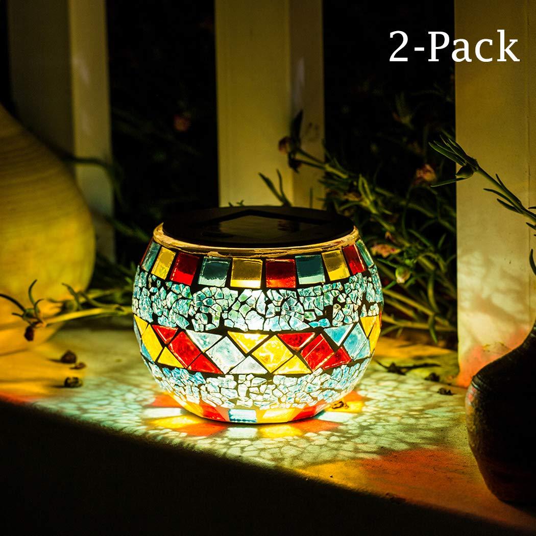 Kinna Table Lamp Solar Mosaic Glass