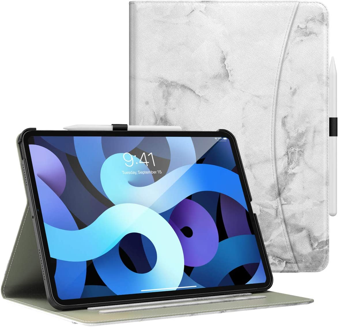 Dadanism Case Fit iPad Air 4th Generation Case 2020 10.9 inch Case, [Multi-Angle Viewing Stand] Lightweight Shockproof Protective Cover with Flexible Hand Strap & Card Slots, Marble White
