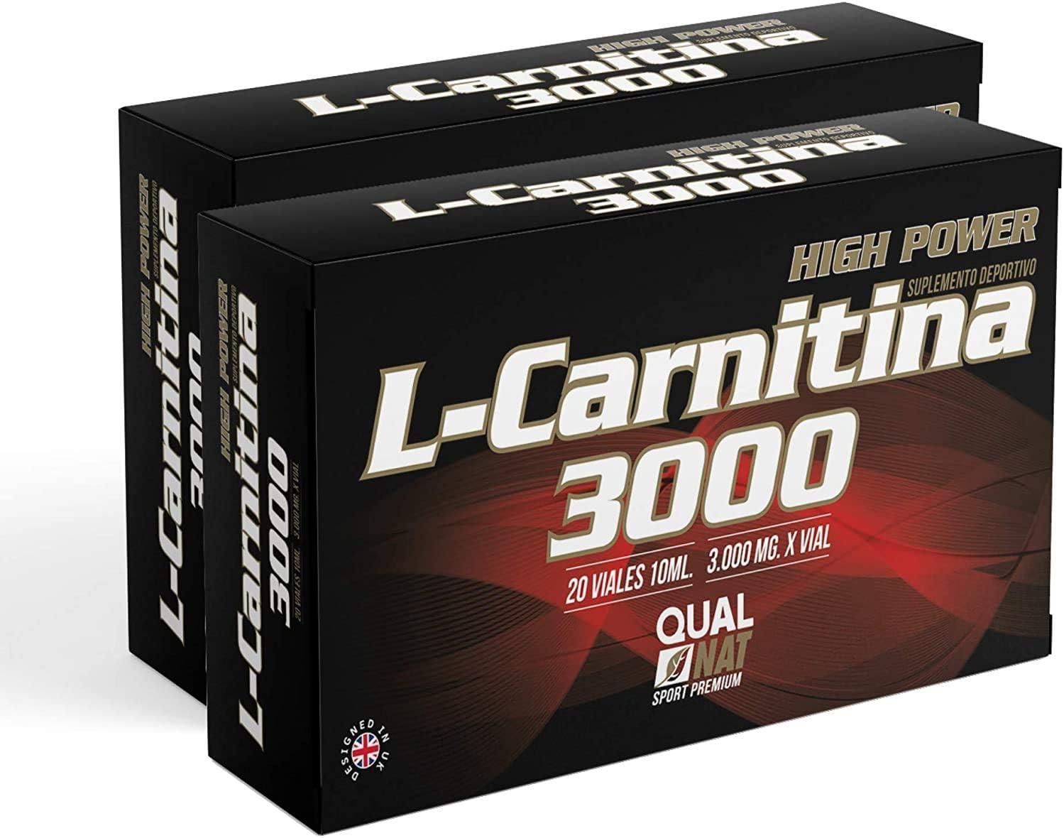 L Carnitina 3000  Líquida   L-carnitina Con Vitamina C   Suplemento Deportivo - Pack 2-40 viales-Qualnat