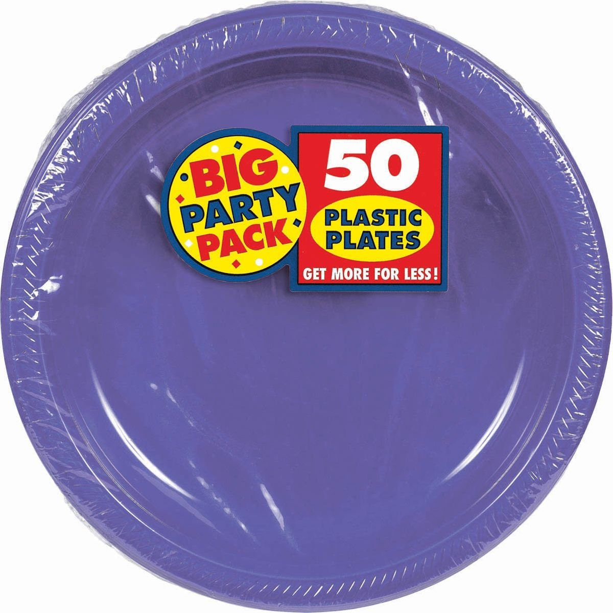Amscan Big Party Pack 50 Count Plastic Lunch Plates, 10.5-Inch, New Purple by Amscan