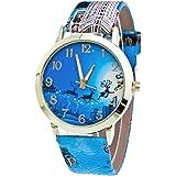 Damen Uhr, OverDose Christmas Weihnachten Ältere und Baum-Muster-Leder-Band-Analog-Quarz-Mode-Uhren (Blau)