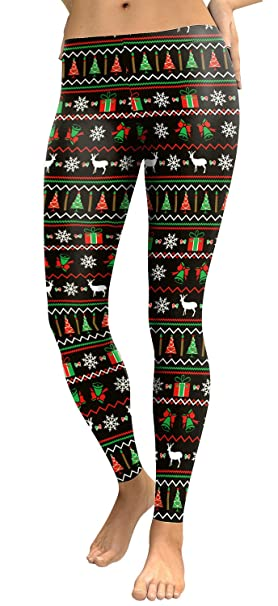 373338eb3c4 Womens Green Red Gift Box Print Black Legging Pants for Ugly Christmas Party
