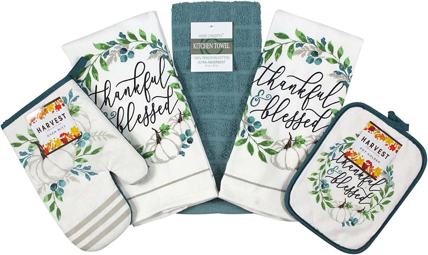 Fall Harvest Blue and White Pumpkins Kitchen Dish Towels and Pot Holder Set 5pc … (White/Teal)
