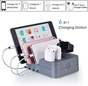 KeyEntre 6 Port USB Charging Station Multi Device USB Charging Dock Station HUB Desktop Charger Stand Organizer Compatible for iPhone ipad Airpods iwatch Kindle Tablet Multiple Devices, Silver