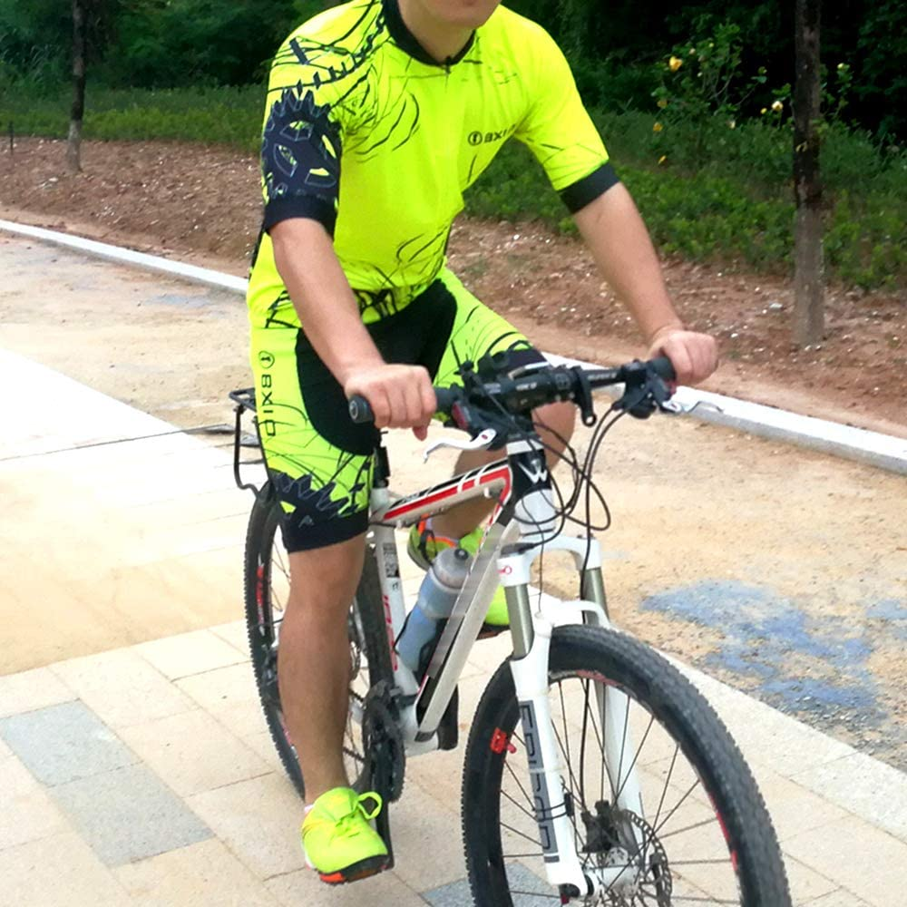 Motif dherbe Jaune 183 BXIO V/êtements Cyclisme Homme Cuissard Court avec Gel 3D Rembourr/é Bretelles S/échage Rapide per VTT Sports de Plein Air