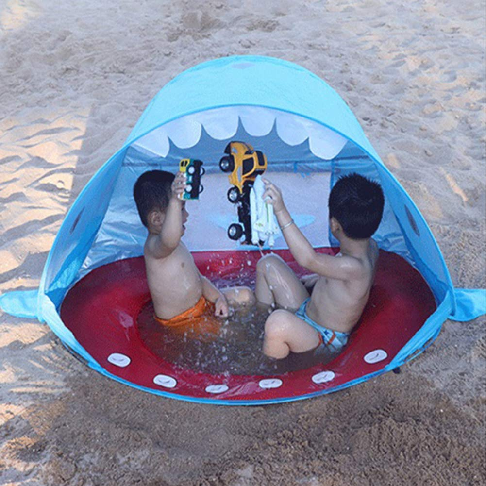 Cute Shark Pop Up Beach Shelter for Toddlers Sun Shelter 50 SPF UV Protection Sun Shade Kiddie Tent for Infant Aged 0-3 Baby Pool Tent Encamp Baby Beach Tent