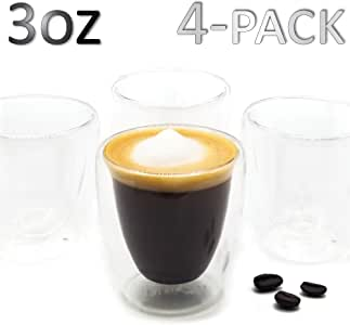 DLux Espresso Coffee Cups 3oz, Double Wall, Clear Glass Set of 4 Glasses, Insulated Borosilicate Glassware Tea Cup