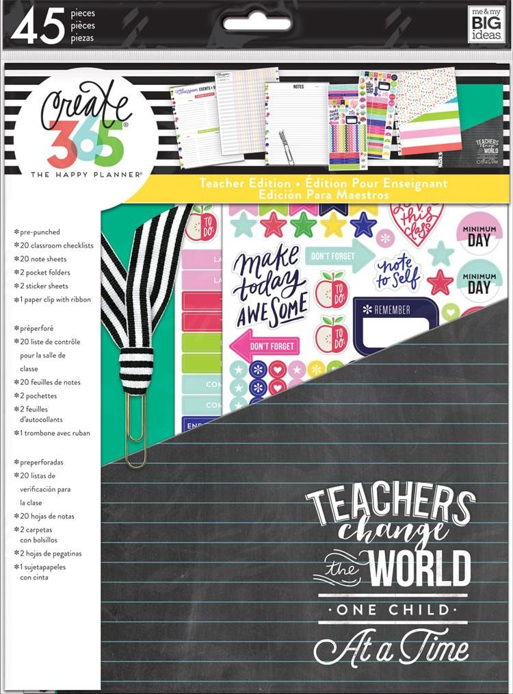 Create 365 The Happy Planner Back to School Teacher Accessory Pack Teachers Change the World (Fits BIG Sized Happy Planners) me