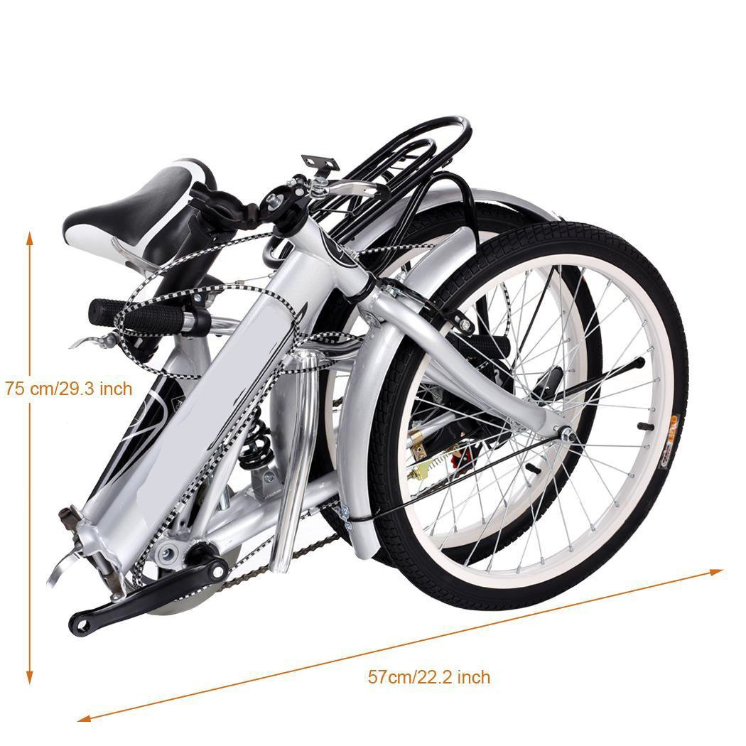 Utheing 20inch Wheel Folding Bike 6 Speed Mountain Bicycle Cycling Steel Frame Double Disk, Silver by Utheing (Image #5)