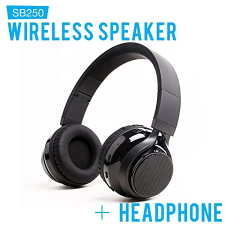SoundBot SB250 Stereo Bluetooth Wireless Speaker Headphone, Foldable Design 3.5mm AUX Audio Port Cable Included