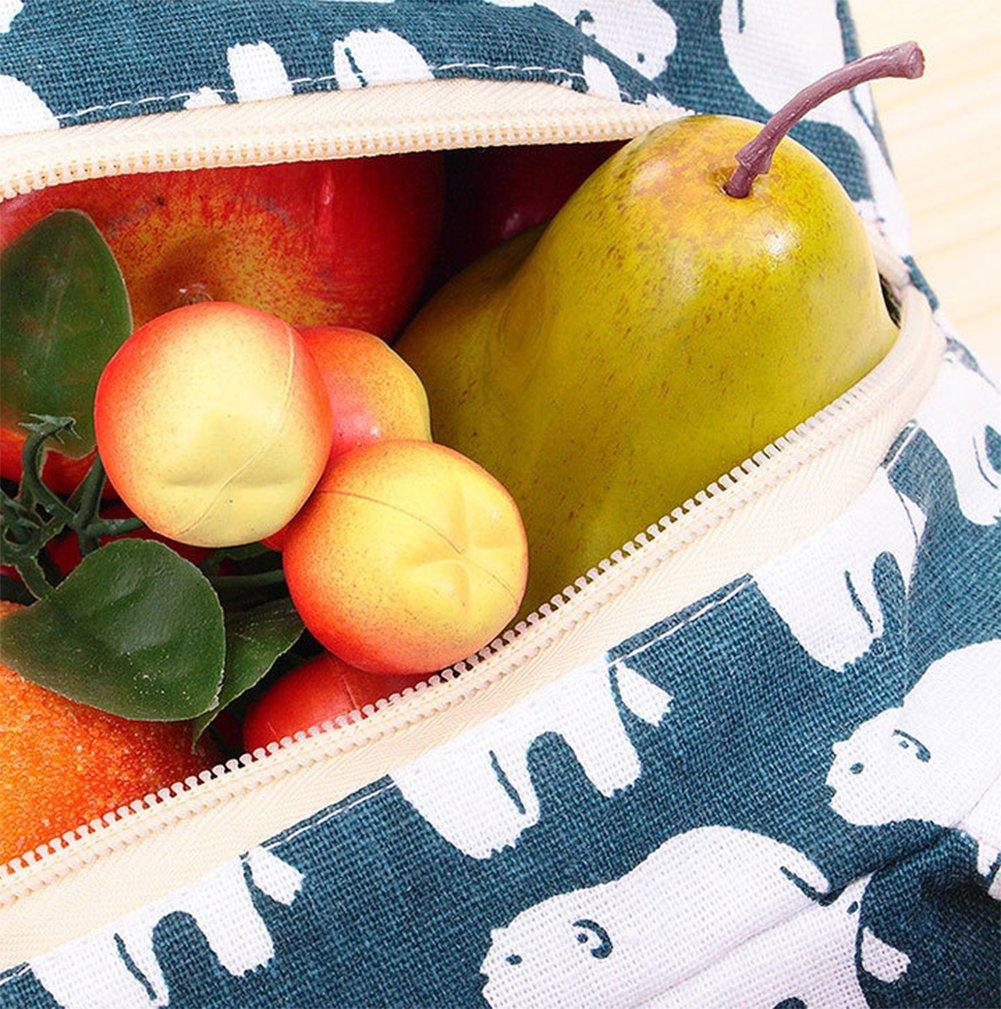 Demarkt Picknicktasche K/ühltasche Lunch Mittagessen Taschen Baumwolle Leinen Aluminiumfolie Beige B/äumemuster 18x13x21.5cm