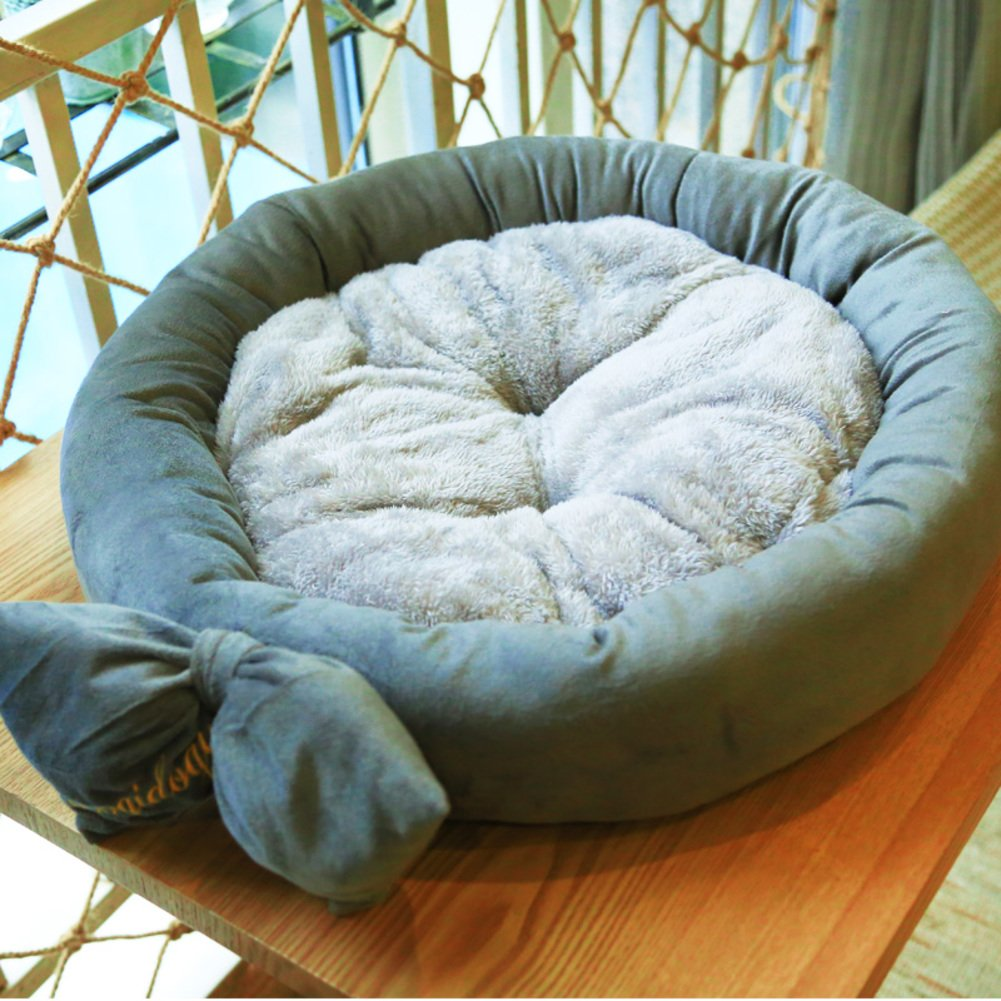 Cat kennel in autumn and winter Pure color plush round nest-B 55x55cm(22x22inch)