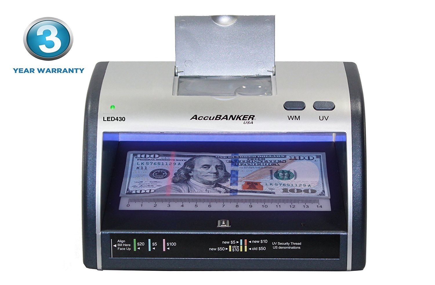 AccuBANKER Cash + Card Counterfeit Detector LED430 Money Checker with Superbright LEDs Ultraviolet, Magnetic & Size Detection ... (LED430) by Accubanker USA