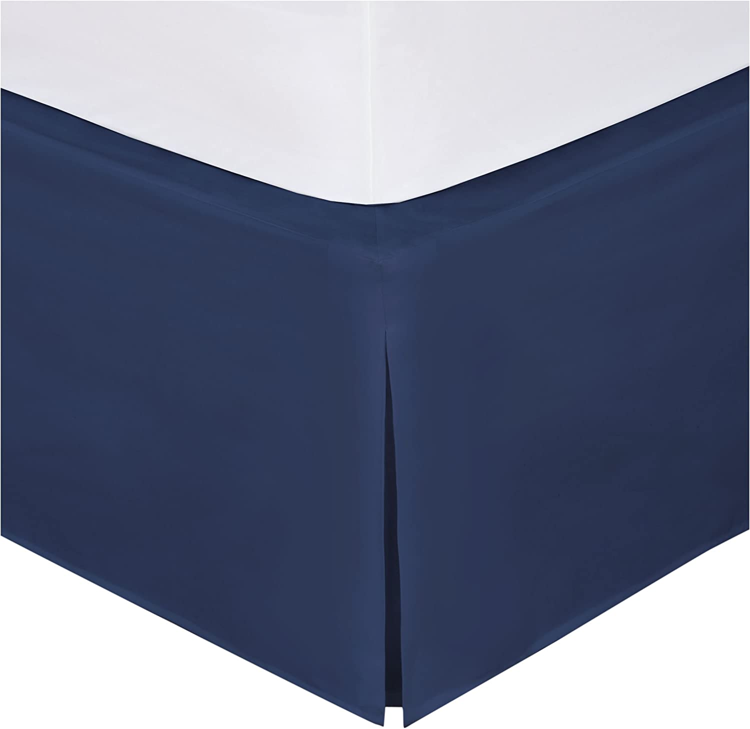 """Levinsohn Bed Maker's Tailored Wrap-Around Bedskirt Never Lift Your Mattress Classic 14"""" Drop Length Pleated Styling, California King, Navy"""