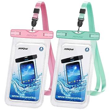 Mpow [2 Paquetes Funda Impermeable,Doble Sellado, Bolsa Estanca,Bolsa Seca para Celular con Cordón Desmontable para iPhone 11/X/XR/XS/XS ...