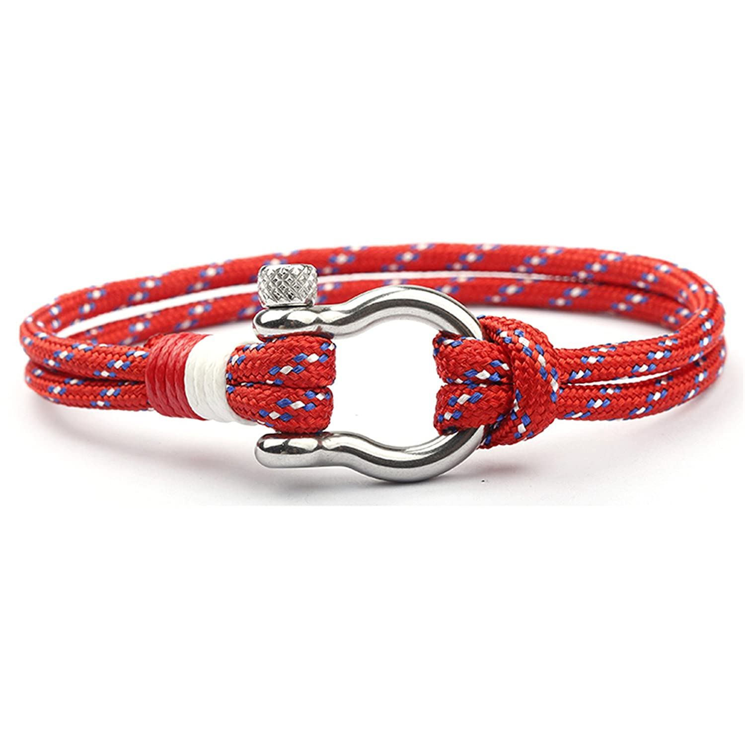 DreamMarker Happiness Jewelry Nylon Paracord Double Rope Sailing Bracelet with Nautical Stainless Steel Anchor Shackle Clasp ChuWen Jewelry