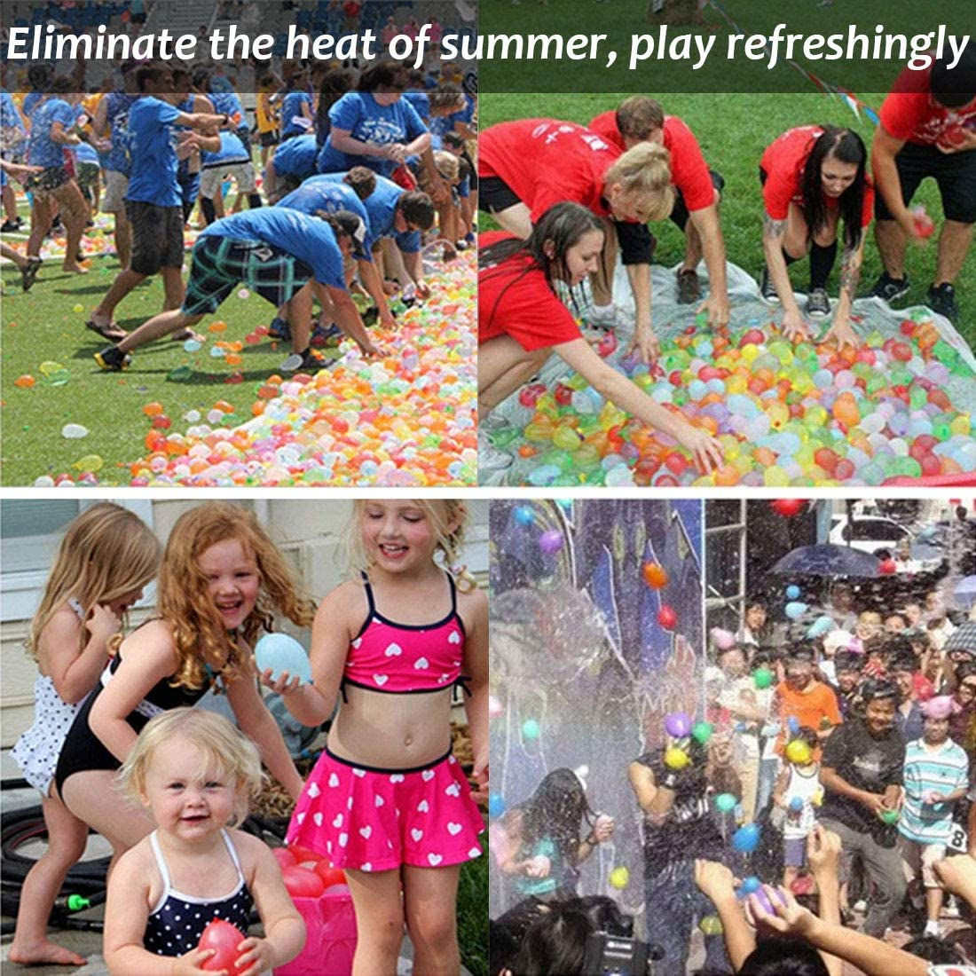 Summer Swimming Pool Party Family Games Supply 1500 Pack Water Balloons Refill Kits Quick /& Easy Latex Water Bomb Balloons with Refill Hose Nozzle for Kids and Adults Water Fight Games