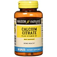 Mason Natural CALCIUM CITRATE W/VIT D3 compare to CITRICAL + D 60-Count (Pack of 3)