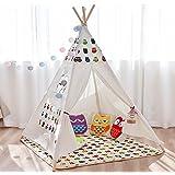 Tenda per bambini Gufo Animali Casa gioco Indiana 120x120x150 cm Quattro angoli Guglia Tela di cotone Staffa per pino Ragazzi & Bambine Unisex