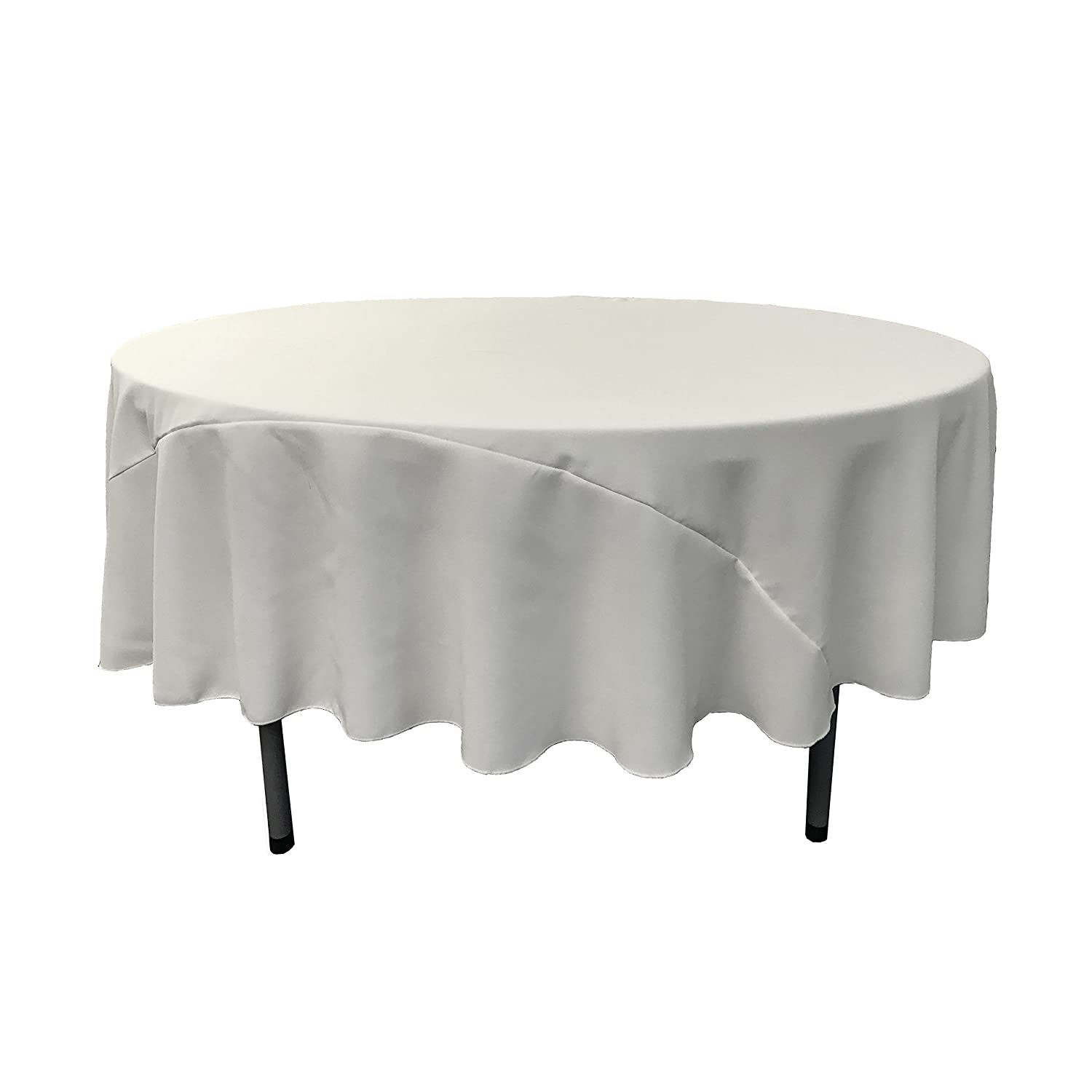 White round tablecloths cheap - Amazon Com La Linen 96 Inch Round Polyester Poplin Tablecloth Pack Of 1 White Everything Else