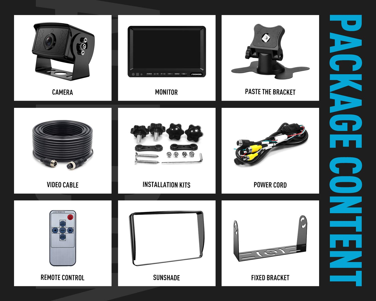 100/% Not Wash Up,Truck//Semi-Trailer//Box Truck//RV Fookoo Ⅱ HD Backup Camera System Kit,71080P Reversing Monitor+IP69 Waterproof Rear View Camera,Sharp CCD Chip FHD1-Wired