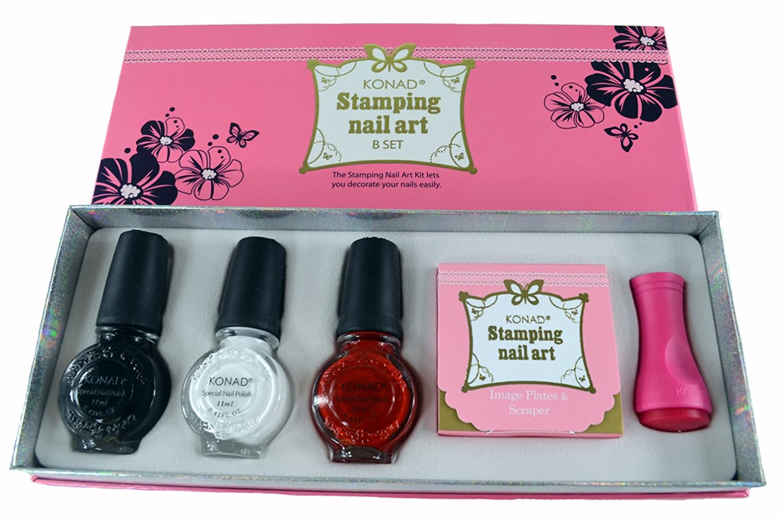 Amazon.com : Konad Nail Art Stamping Starter Kit - B Set : Nail Art ...