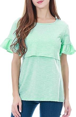 Smallshow Camiseta de Lactancia, Camisa de Maternidad de Manga Corta de Volante Top Ropa Embarazo para Premamá: Amazon.es: Ropa y accesorios