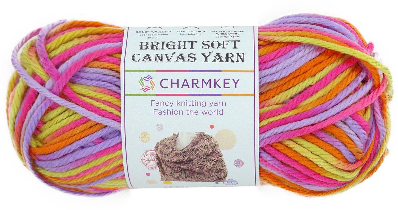 charmkey lona suave y brillante hilo 4 tamaño mediano autoadhesivo Striping Lustroso 100% acrílico hilo de 4 capas bebé lana para tejer (para jersey ropa ...
