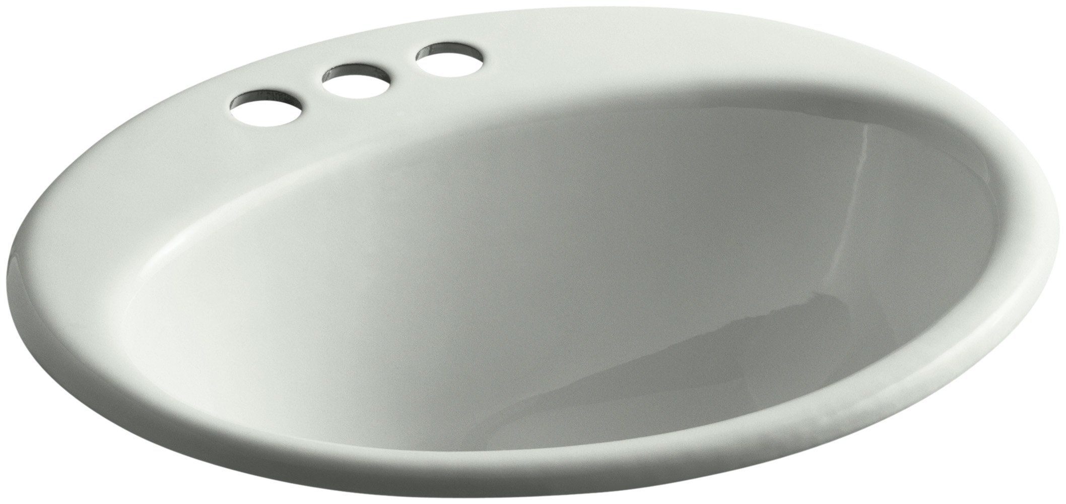 KOHLER K-2905-4-FF Farmington Drop-In Bathroom Sink with 4-Inch Centerset Faucet Holes, Sea Salt