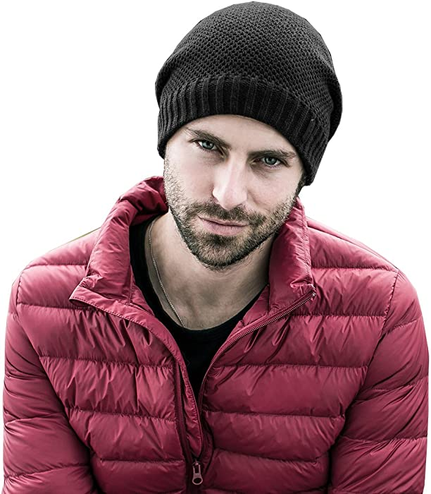 50cf97a2ecb Mens Winter Thick Knit Skull Hats Beanies Caps. Ensnovo Skull Beanie Hat  Winter Thick Warm Cap for Men Black