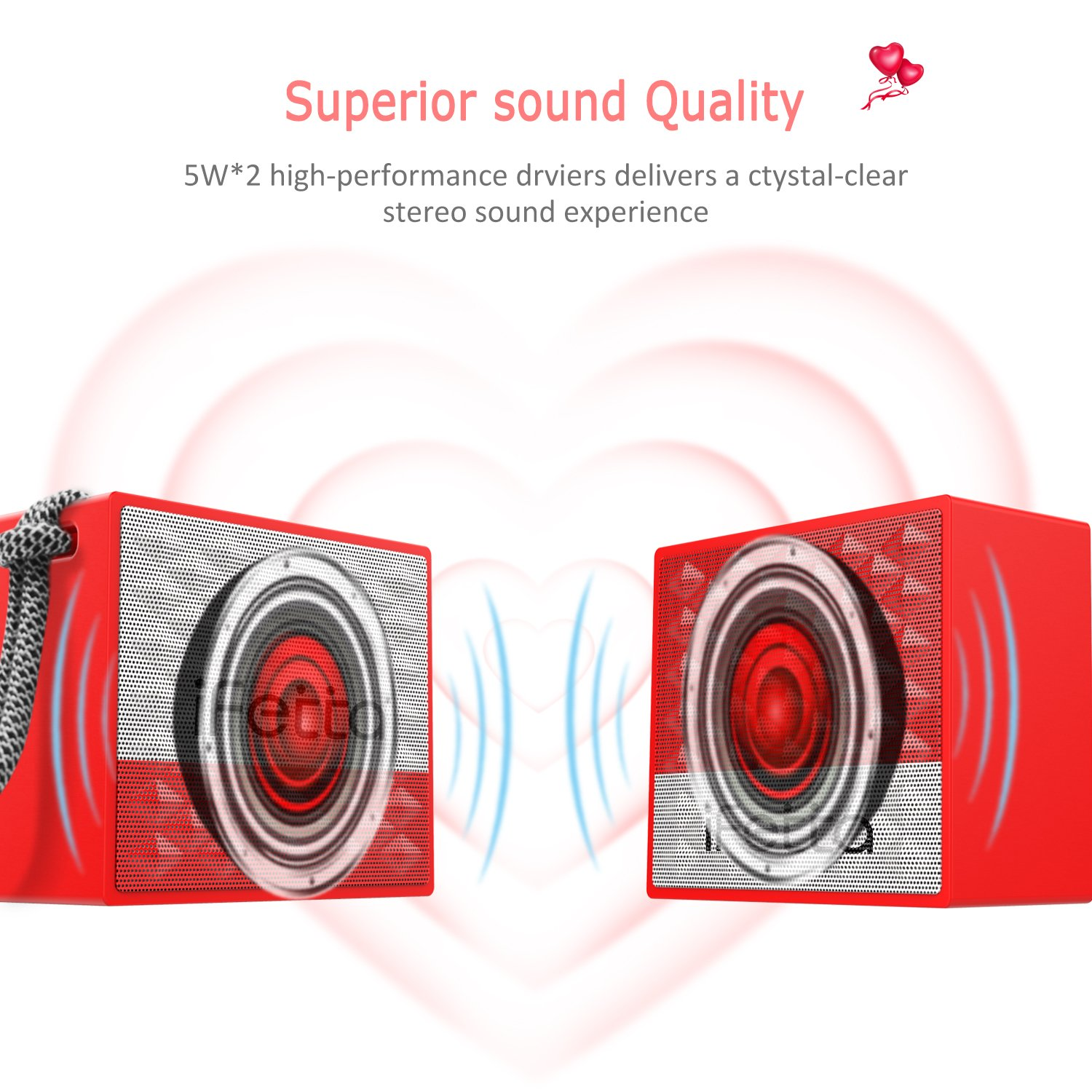 Portable Wireless Bluetooth Speaker, Ifecco True Wireless Stereo Couple Speakers IPX7 Waterproof Speaker Built in Mic for Beach, Shower & Home Best as Valentine Gifts (TWS Lover Speaker)