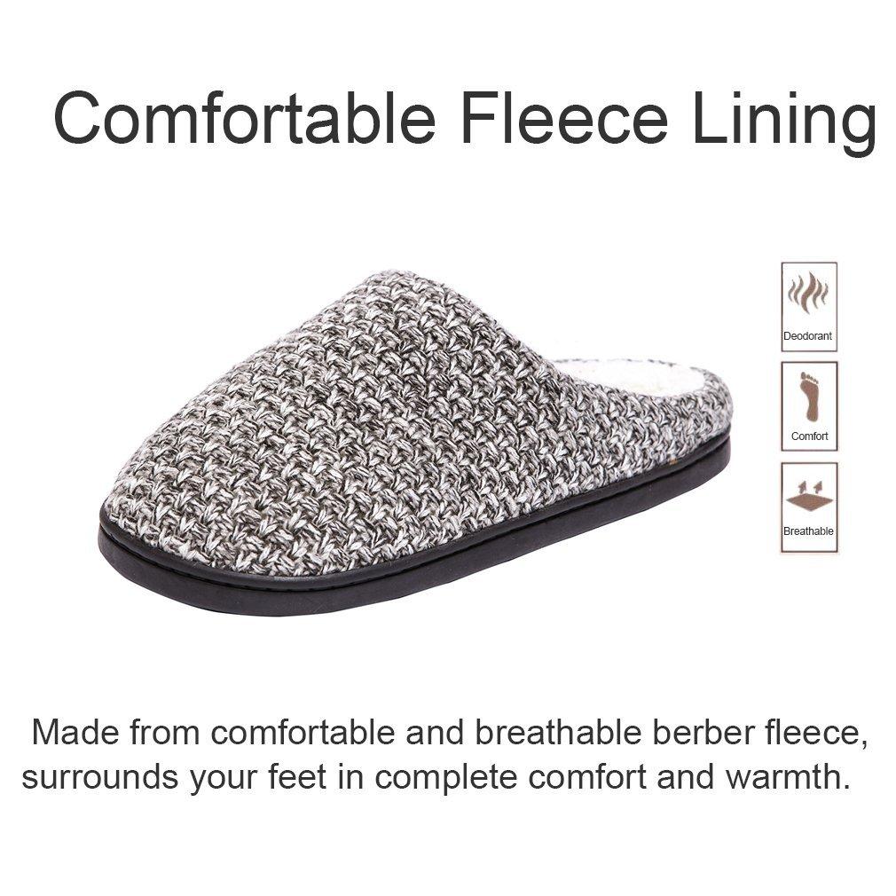 DRSLPAR House Memory Foam Slippers Comfort Plush Lining Slip-on Knit Indoor Outdoor Shoes for Men Women(Grey-Beige X-Large) by DRSLPAR (Image #4)