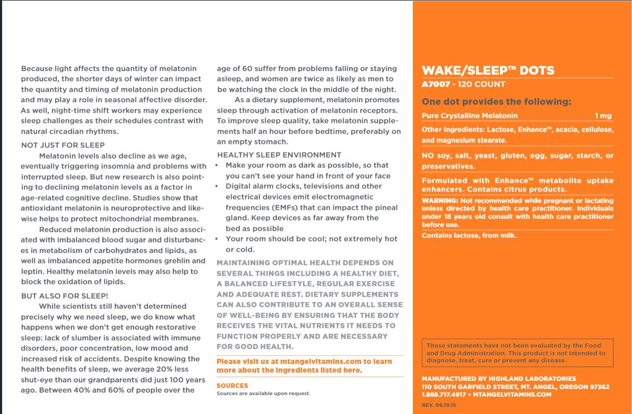 Amazon.com: Mt. Angel Vitamins - Wake/Sleep Dots, Melatonin 1 MG (120 Dots): Health & Personal Care