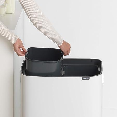 Brabantia Bo Touch Bin Cubo de basura 2 x 30 L, color blanco