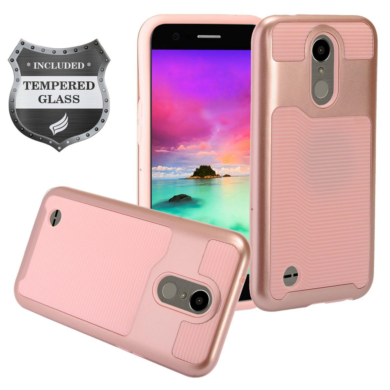 EagleCell - for LG K20 Plus, LG K20 V, LG Grace, LG Harmony, LG K10 (2017) M250 - Slim Hybrid Hard Case + Tempered Glass Screen Protector - Pink/Rose Gold