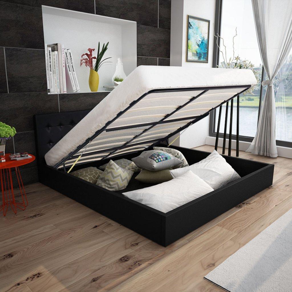 Festnight Polsterbett Doppelbett Bett Ehebett aus Kunstleder mit Bettkasten 140x200cm ohne Matratze Schwarz