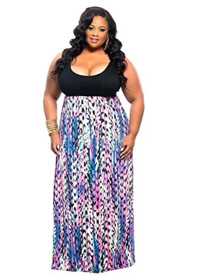 9bef0c162286 HPLY Women Sexy Casual Plus Size Printed Vest Beach Long Dresses Black/XL