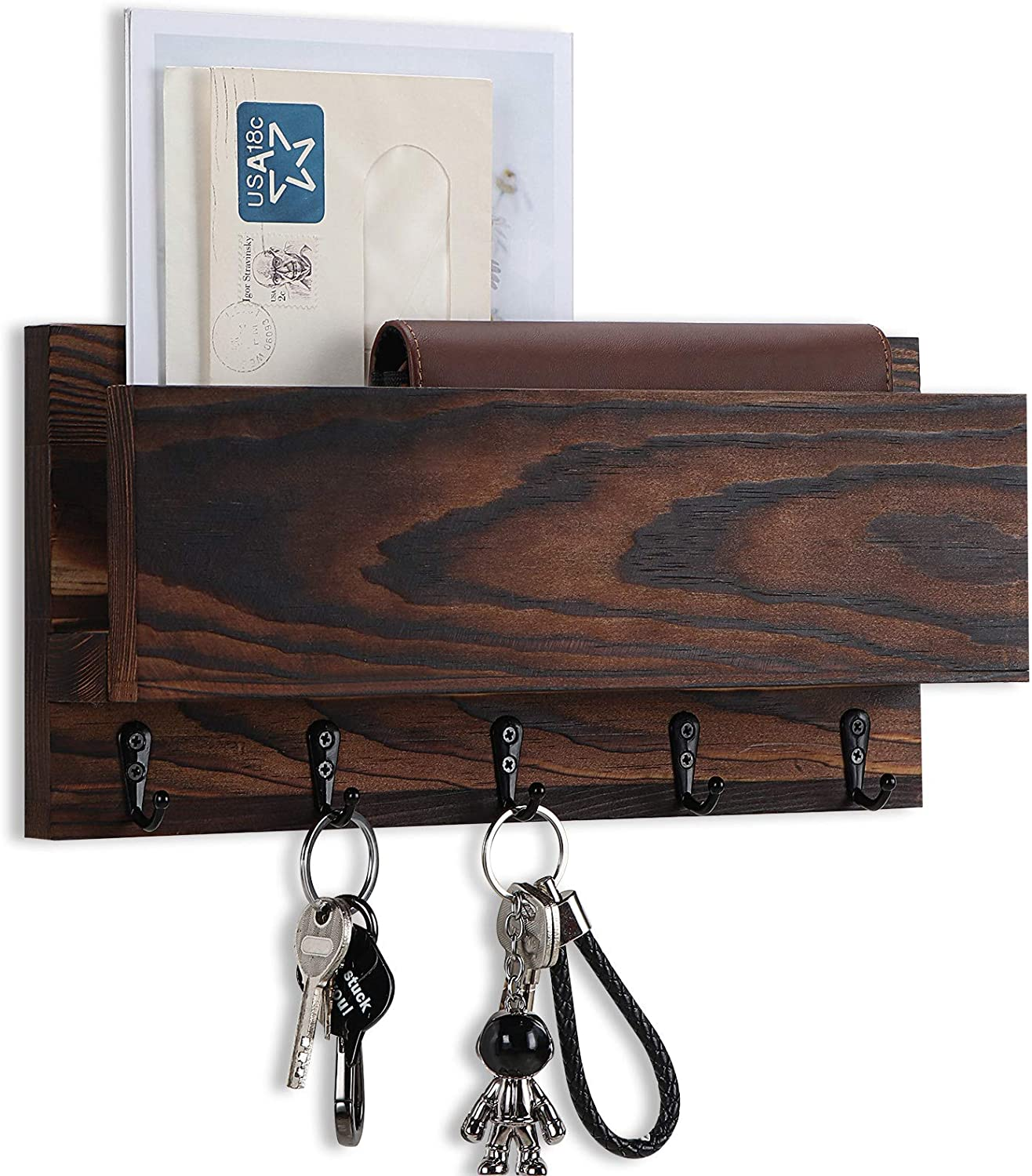 Wooden Key and Mail Holder for Wall Decorative, Rustic Wall Mounted Entryway Organizer with 5 Key Hooks - Perfect Home Hanging Decor for Entryway, Office, 100% Pine Wood (Brown)