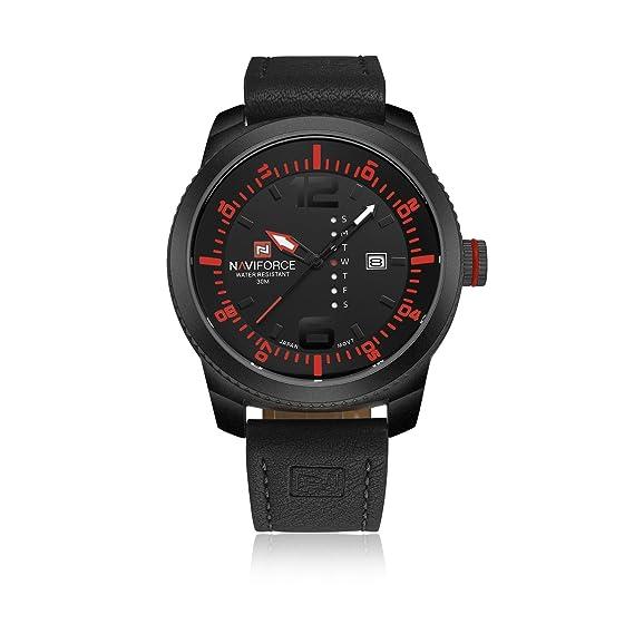 Naviforce reloj correa de piel Para Hombre Classic automático día analógico reloj de cuarzo impermeable de