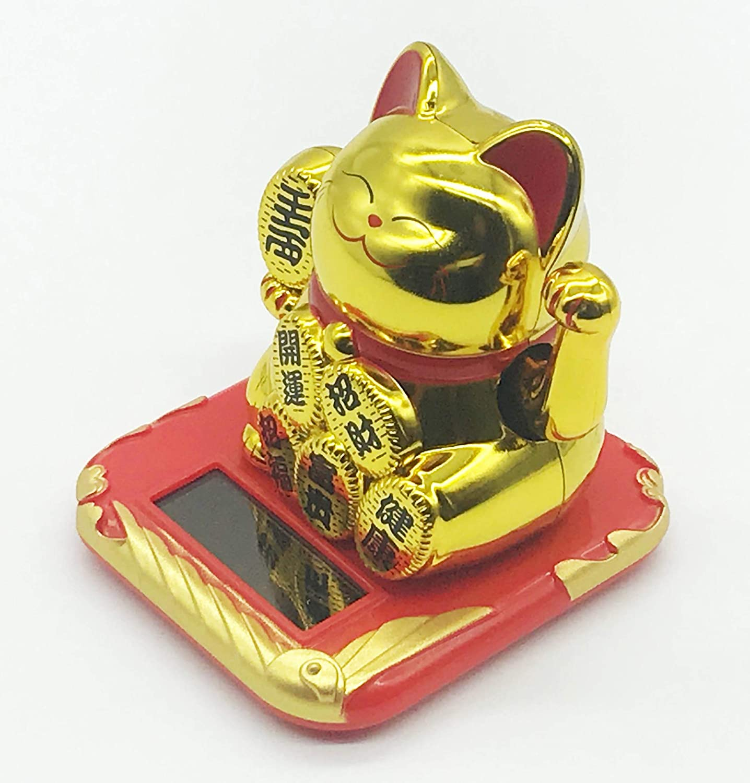 Gold Cafolo Solar Powered Lucky Beckoning Waving Cat Gold Maneki Neko Lucky Money Cat for Home Office and Car d/écor