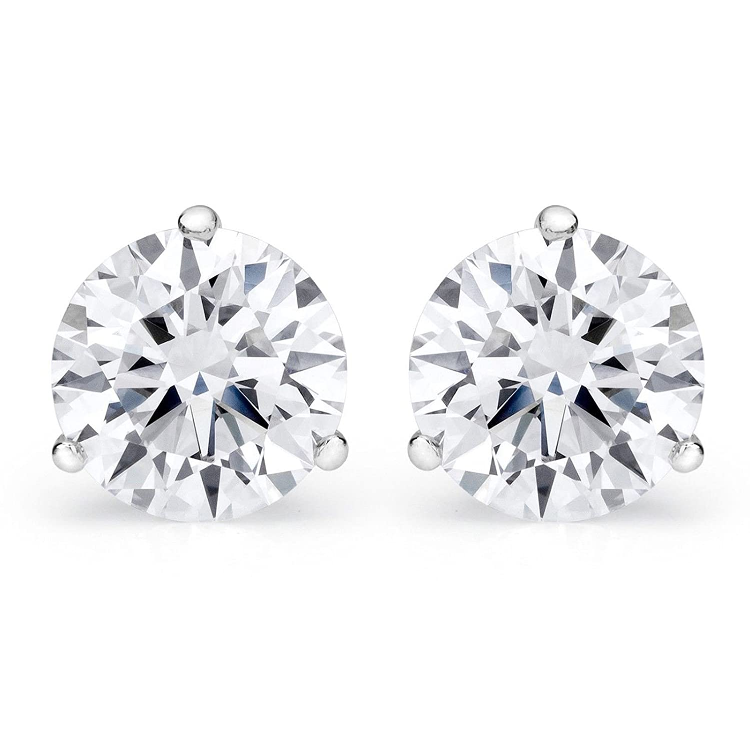Clara Pucci 3.90 CT Round Cut Solitaire Martini Style Stud Earrings in 14k White Gold Screw Back