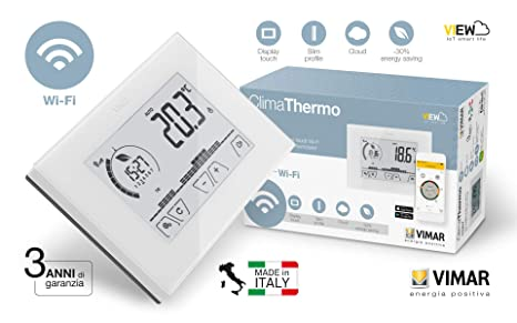 Vimar 02907 Termostato Electrónico pantalla táctil Wifi para control Local y Gestión avanzada de la temperatura mediante App dedicada de remoto: Amazon.es: ...