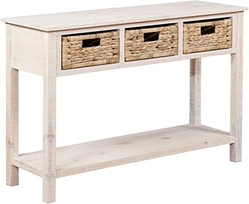 Powell Company Powell Indiana Basket Console Accent Collections, White